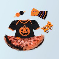 american girl pictures - Halloween Newborn Baby Girls Clothes Romper Dress Headband Shoes Socks Four Pieces Suit Cartoon Picture Party Dress Holiday Clothes Colors