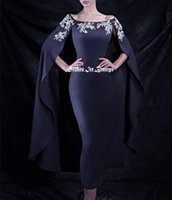 african tea - Navy Blue Mermaid Cloak Evening Dress Siver Beaded Long Dubai Turkey African Cape Prom Dresses Formal Gowns Fast Shipping Cheap