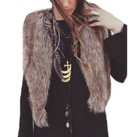 Wholesale New Design Women Vest Sleeveless Coat Outerwear Long Hair Jacket Faux fur Waistcoat D29