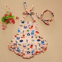 Cheap New Cute Baby Kids Fox Print Cotton Rompers With Headbands Orange Color Stripes Cute Halter Bow Infant Kids clothing