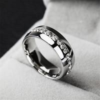 Anillos de moda de lujo de los anillos de bodas de cristal de acero inoxidable para las mujeres de los hombres de calidad superior para hombre chapado en oro de la joyería anillo de color oro plata