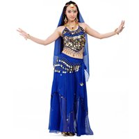 belly dance practice wear - 2016 Belly Dance Costume Set Professional Top Pants Hip Scarf Indian Dress Lady Belly Dancing Dance Wear Practice Performance