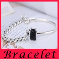 agate jewelry box - 925 Sterling Silver Jewelry Box Black Onyx irregular Chain Bracelet Silver Bracelet personality retro old women with Silver Bracelet Silver