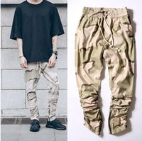 beam pocket - 2016 kanye west Desert camouflage men casual Jogging Pants Rubber elastic pants feet zipper casual pants Overalls Beam foot trousers