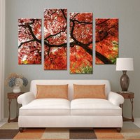 beautiful painting ideas - 4 beautiful colorful red tree summer Wall painting print on canvas for home decor ideas paints on wall pictures art F