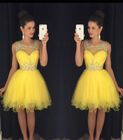 Cheap 2016 Yellow New Homecoming Dresses Sheer Crew Neck Beaded Crystals Tulle Short Mini Prom Gowns vestido formatura curto Cocktail Dresses