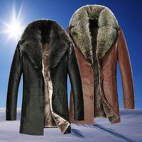 Wholesale Clearance Mens Luxury Fur Leather Coat genuine leather Natural Large Raccoon fur Collar Warm Wool Outerwear Coats For Men