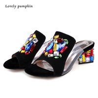 Wholesale Women Sandals New Summer Fashion Flower High Heels Wedge Rhinesthone Flip Flops Sexy Slippers Women Zapatos Mujer