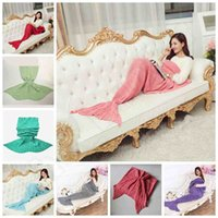 Wholesale Adult Crochet Mermaid Tail Blankets Mermaid Tail Sleeping Bags Cocoon Mattress Knit Sofa Blankets Air condition Knit Blanket cm E29