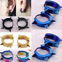Wholesale Fashion Unisex Titanium Steel Punk Rivet Ear Studs Spike Hoop Huggie Piercing Earrings New Hot Sale