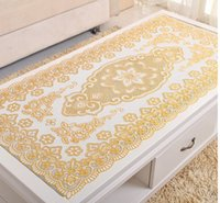 Wholesale Home Textiles Tablecloth PVC European Classic non slip Oilproof Golden Sliver rectangle Two Colors Printed Table Cloth Shipping