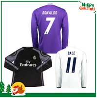 Wholesale 16 Real madrid Long sleeve Soccer Jersey Benzema Ronaldo football Modric Kroos Sergio Ramos Bale Marcelo Madrid Full home away