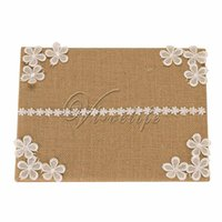 Wholesale Burlap Wedding Guest Book with Lace Flowrs Satin Ribbon Bow Rhinestone Buckle for Bridal Birthday Party Reception Wedding Favors Decorations
