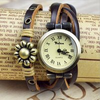 antique round brass table - 2016 Women bracelet watch retro do the old Roman numerals belt round table eight flower watches student casual watches