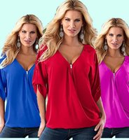 Wholesale Plus Size Bust CM New Fashion Spring Long Sleeve V neck Chiffon Vintage T Shirt Tops XL XL tshirt T Shirt