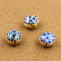 Wholesale Cloisonne Sterling Silver Jewelry Accessories Hollow Flower Bead Caps Pendant Fitting For DIY Jewelry Pendant Necklace Bracelet