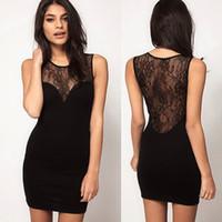 achat en gros de xxl clubwear mini robe-1PC Femmes Sexy Black Lace Bodysuit Robes Night Party Clubwear Vêtements Cultiver One Morality Splicing Hollow Out Sundress