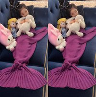 Wholesale Adults Children Blankets Adults Children Crochet Knit cartoon Mermaid Tail Lapghan Manta chilren sofa blackets knitting wool swaddling A9431