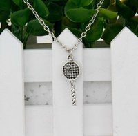 antique tennis racket - Brand New Hot Antique Silver Tennis Racket Charm Amulet Pendant Clavicle Short Necklace Jewelry Findings Friendship Gift A051