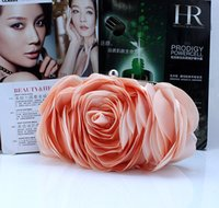 Wholesale Punk Style Lovely Women s Flower Satin Evening Bags Oval Rose Flower Clutch Purse Floral Party Handbag