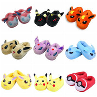 Wholesale Poke Slippers Pikachu Eevee Stuffed Plush Slippers Umbreon Espeon Jolteon Flareon Poke Ball Plush Slippers Hmoe Shoes Styles quot cm B500