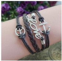 ancient love symbols - charm bracelets for women DIY new Europe and the United States to restore ancient ways peace symbol wax love anchor rope braided leather