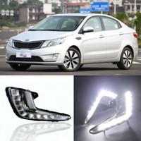 auto retrofit - Auto Tech LED Daytime Running Light Fog lamp assembly Retrofit Car LED White DRL kit For KIA K2 RIO