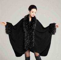 Wholesale 2016 Brand Acrylic big winter shawl Design Triangle cape black Fashion Warm pashmina with fake raccoon fur collar Women stole