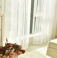 Wholesale Living room Bedroom Checked White Sheer Curtain linen cotton Window curtains modern simplicity pervious to light fabric