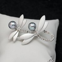 best indian wedding dress - Pearl Rhinestone Dragonfly Brooches Pins Matte Silver Corsages Scarf Clips Women Dress Crystal Brooch Best Friend Christmas Gift