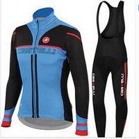 Prezzi Kit e bike-2016 Castellii Ciclismo Jersey Imposta nero e blu lungo in bicicletta Camicie e rosso Bavaglino con 3D imbottito bici vestiti comodi kit femminile della bicicletta