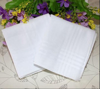 banquet tables wholesale - Male White Handkerchiefs Cotton Satin Table Handkerchief Super Soft Whitest Pocket Towboats Squares cm for Banquet Party Use