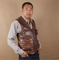 best fishing vest - Vests real leather best cowhide autumn winter fishing outdoor reporters more pockets bag old man first layer leather vest keep warm