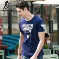 big and tall shorts - Pioneer Camp New Arrival Summer Men T shrit Short Sleeve Cotton Tops O neck Male Tee Plus Size for Big and Tall Dark Blue