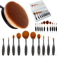 beauty teeth - 10 Professional Soft beauty Tooth brush Makeup Brush Sets Foundation Brushes Cream Contour Powder Blush Lip Concealer Oval Brushes