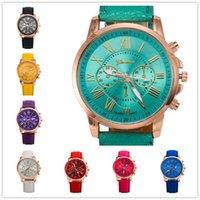 al por mayor últimos relojes niña-Los últimos tres ojos miran reloj del cuero de la correa de Ginebra doble reloj de pulsera 11 colores del estudiante digital miran para las muchachas del muchacho