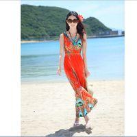 Wholesale new Europe usa women summer bohemian Beach vacation V neck printing dress dress Ice silk Beach dress