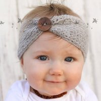crochet baby headbands - New Baby Fashion Buttons Headband Handmade Crochet Knitted Hairband Autumn Winter Headwrap For Baby M42
