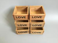 desktop wooden - 6Pcs Cute Wood Box Succulent Planter wooden Flower pot Mini Pot for Cactus Small Plant