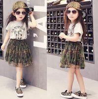Cheap Wholesale 2016 new arrivals spring summer children girls shirt+dress 2pcs fashion camouflage cotton letter size90-130cm WJ2461