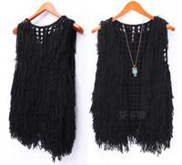 Wholesale Celebrity Fashion Womens Fuzzy Knited Tassels Cardigan Vest Open Knit Crochet Tassel Waistcoat Sleeveless Winter Jacket