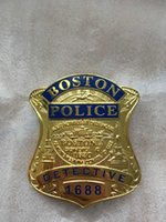 Wholesale Replica police cop metal badge high quality united States Boston detective insigna patch