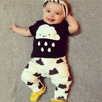Wholesale Toddler Baby Boys Clothes Sets Outfits Kids Cartoon Clouds Rain T shirt Tops Pants Babies Clothing Newborn Infants Cotton Suit M