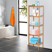 bathroom shelving unit - 5 Tier Bathroom Shelf Bamboo Storage Organizer Shelves Tower Rack Shelving Unit