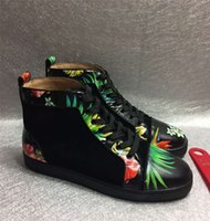 balck shoes - New Fashion Deerskin Leather Red Bottom Fashion Sneakers For Man and Women Unisex Luxury Brand Autumn Winter flowers balck Casual High Shoes