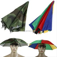 Wholesale Foldable Umbrella Hat Cap Beach Fishing Hands Camping Sun Rain Headwear Brolly