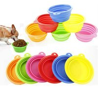 Wholesale 6 colors Portable Pet Dog Cat Fashion Silicone Collapsible Feeding Feed Water Feeders Foldable Travel Food Bowls Dish