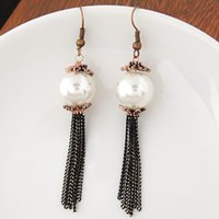 antique metal chandelier - Elegant European Fashion Jewelry Metal Antique Big Pearl Long Tassel Dangle Earrings Female Two Colors