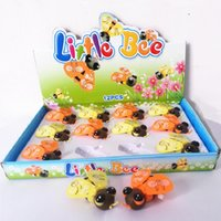 al por mayor juguete educativo de abeja-Los niños juguetes de viento de hasta Abejas juguete Kawaii del mecanismo de dibujos animados Little Bee Toy Animal regalos Brinquedos Juguetes Juguetes educativos 6PCS
