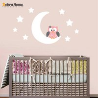 Wholesale Moon Stars Owl Good Night Nursery Wallpaper Wall Decal Sticker Painted Paper Children Baby Room Nursery Bedroom Home